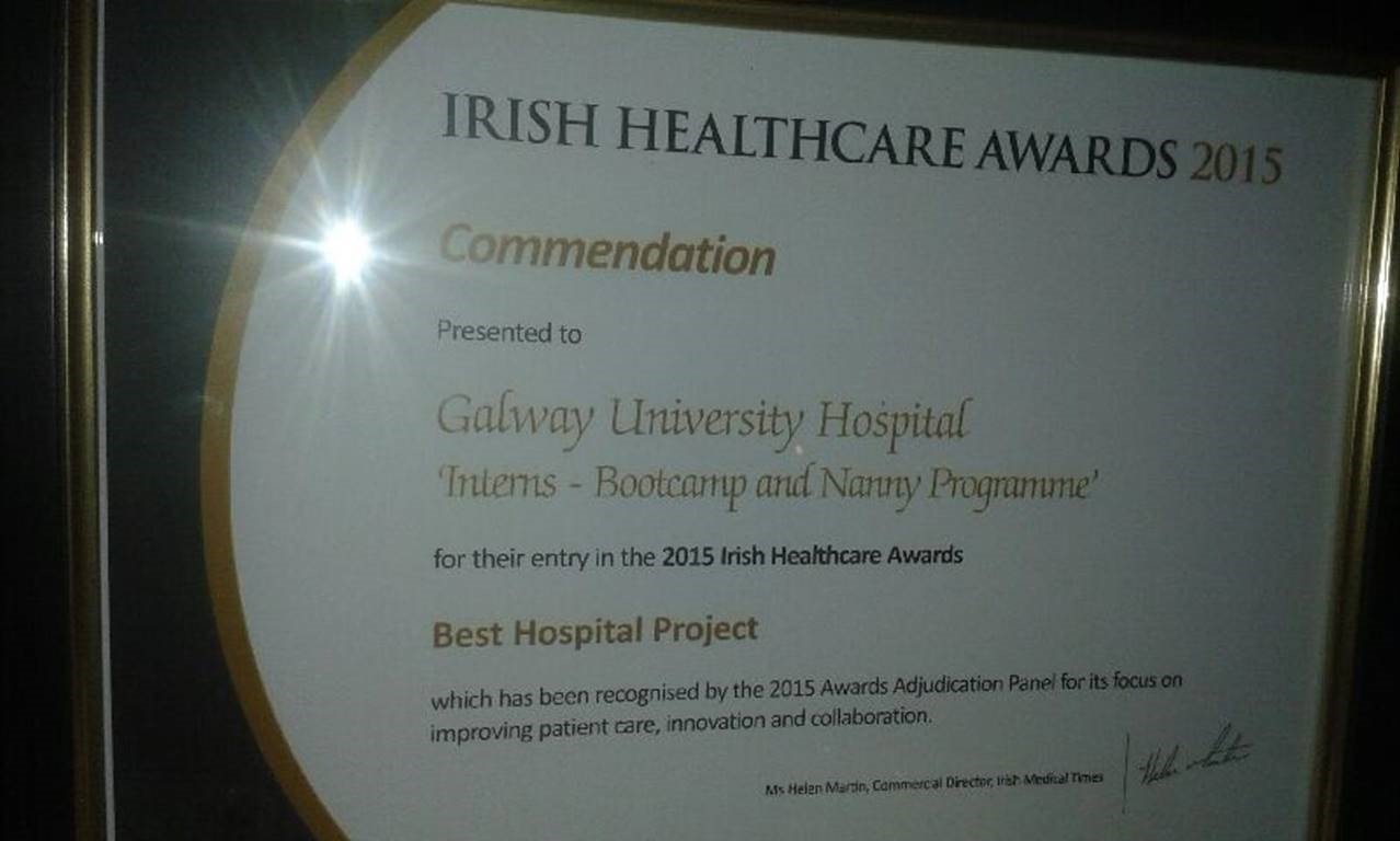 "Irish Healthcare Awards. November 2015. ""Intern Bootcamp and Nanny Intern programme."" Commended Best Hospital Project"